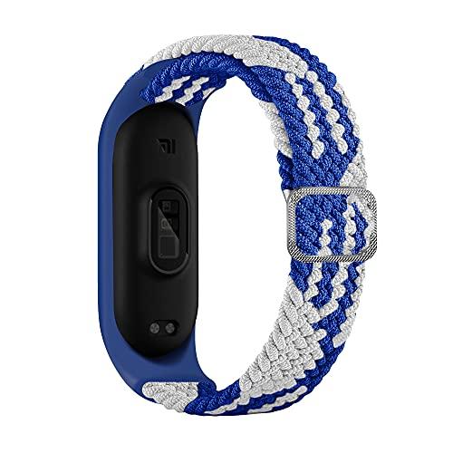 BoLuo Correa para Xiaomi Mi Band 6,Bandas De Correa Repuesto,Correas Reloj, Nylon Reloj Recambio Brazalete Correa Repuesto Strap Wristband para Xiaomi Mi Band 6 5 4 3 Accessories (azul blanco)