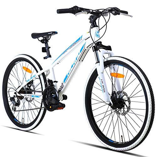 Hiland 24 Inch Mountain Bike for Boys and Girls, Children Teenager Youth Commuter Bicycle with Disc-Brake, 21 Speeds, White Blue