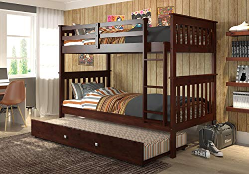 DONCO KIDS Mission Bunk Bed Dark Cappuccino/Twin/Twin/W/Twin Trundle Bed