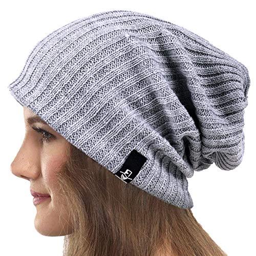 Mujeres Slouchy Gorro Tejer Boina Ribbed Holgado Casquete Invierno Verano Sombrero (Sólido Pálido)