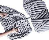 Arm Knit Yarn for Chunky Braided Knot Throw Blanket Fun DIY, Cozy Jumbo Extra Cotton Tube Easy Bulky Giant Yarn for Quick Weave Craft Crochet Handmade Relax (Light Grey, 1.3 lbs / 23 Yards)