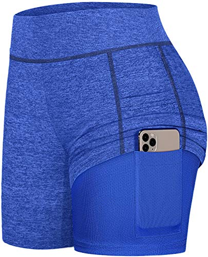 Fulbelle High Waisted Shorts for Women, Teen Girls Athletic Workout Running Yoga Bike Shorts Gym Tennis Skirts Solid Color Line Design High Exercise Shorts with Side Pockets Blue M
