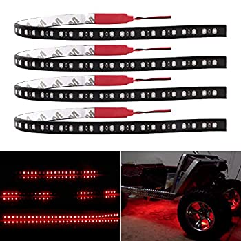 EverBright 4-Pack 30CM Car Led Strip Light Knight Rider Lights Flowing for Car UndergLow Lights Motorcycles Golf Cart Decoration Led Strip Red  DC-12V