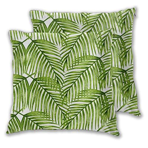 CONICIXI 2pz Federa per Cuscini Pianta Affascinante Foglie sui Rami Impostazione Esotica Composizione Floreale Giungla Verdi A Tema Verde Felce Cuscino Copertura Decorazione Domestica Morbido dell