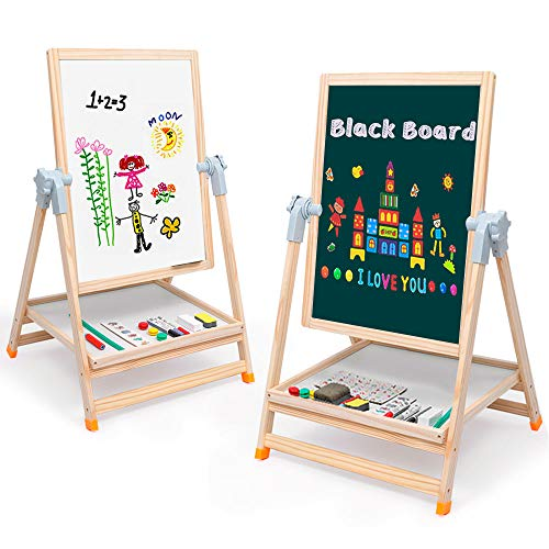 "Arkmiido Easel for Kids Portable Wooden Art Easel 19""x 25"" Double-Sided Magnetic Black/White Board Height Adjustabl Easel Desk with Multiple Accessories Birthday Gift for Kids,Toddlers"