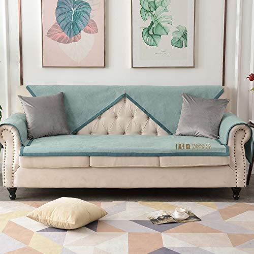 BALCONY & FALCON Funda de sofá antideslizante antiarañazos para perros y gatos, funda protectora para sofá (verde claro-KSR, 70 x 150 cm)