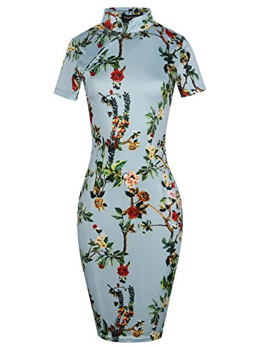 oxiuly Women's Vintage Floral Flare Stretch Stand Collar Casual Work Pencil Dress OX183 (M, Baby Blue)