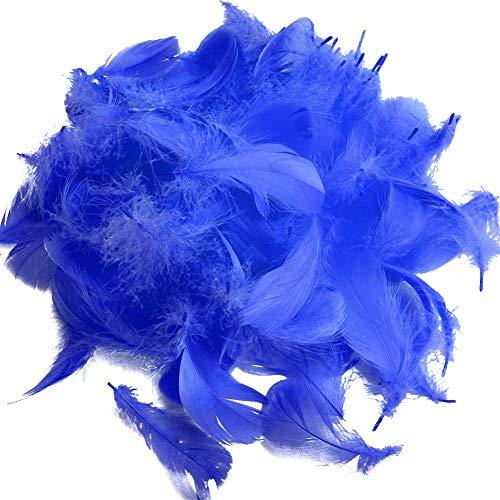 100 plumas de ganso SunEast, para bricolaje, atrapasueños, manualidades, bodas, fiestas, decoración del hogar, festivales, decoración para baby shower, 5 – 8 cm, color negro, azul oscuro, 5-8cm