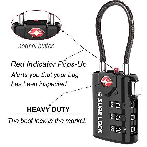SURE LOCK TSA Compatible Travel Luggage Locks, Inspection Indicator, Easy Read Dials TSA Approved with Zinc Alloy