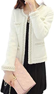 Macondoo Womens Pearls Autumn Winter Open Front Outwear Pea Coat Jacket