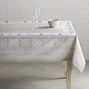 Maison d' Hermine Cozy Christmas 100% Cotton Tablecloth 60 Inch by 108 Inch