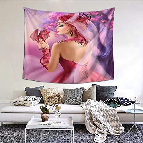kThrones Tapiz de Pared,Hermosa Mujer de fantasía Reina y Fondo de Sakura dragón Rojo Tapestry (Colgante de Pared) Decoración de Pared Mural del hogar para Dormitorio Sala de Estar 152cmx130cm