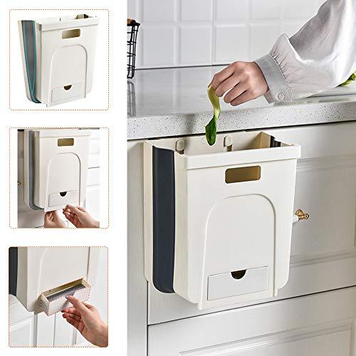 Yolistar Cubos de Basura Plegable Colgando para la Cocina,Dormitorio y Coche, 9L protección del Medio Ambiente Cesto de Basura Baño portátil Cocina,(Beige)