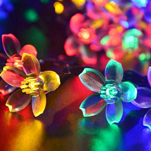 Mjjsk Solar String Lights Garden, 50LED Solar Flower Light String Fairy Lights Twinkle Fairy Lights for Patio Yard Wedding Party Decoration (Multicolor)