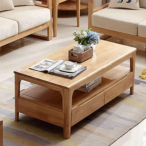 XIAOPENG Mesa de centro sencilla de estilo rústico, diseño rectangular de siglo medio, espacio de almacenamiento de doble cara, color madera natural