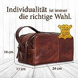 Corno d´Oro Große Leder Kulturtasche Damen & Herren I Männer Kulturbeutel für die Reise I Frauen XL Kosmetiktasche braun CD581 - 4