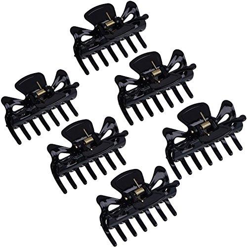 6 Stück Kunststoff Haarspangen Klaue Damen Haar Klaue Schellen Haarnadel (Schwarz)