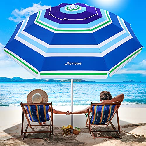 MOVTOTOP Beach Umbrella, 6.5ft Beach Umbrella with Sand Anchor & Tilt Mechanism, Portable UV 50+ Protection Beach Umbrella with Carry Bag for Patio Garden Beach Outdoor (Light Blue Stripe)