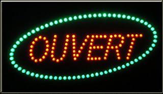 Enseigne lumineuse à LED Ouvert rouge/vert 60x30x2.5cm
