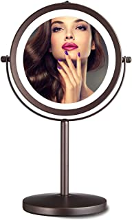 Makeup Mirror with Light, 10X Magnification Lighted Makeup Mirror, Double Sided Magnifying Cosmetic Vanity Mirror with 360°Rotation Battery