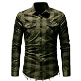 IEason Men's Slim Fit Button Plaid Shirt with Pocket Long Sleeve Tops Blouse AG/M Army Green