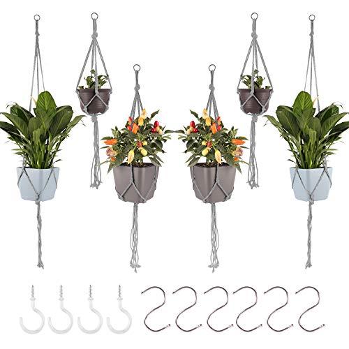 Herefun 6 pcs Colgador para Plantas, Macramé Perchas de Plantas Interior, Cesta...