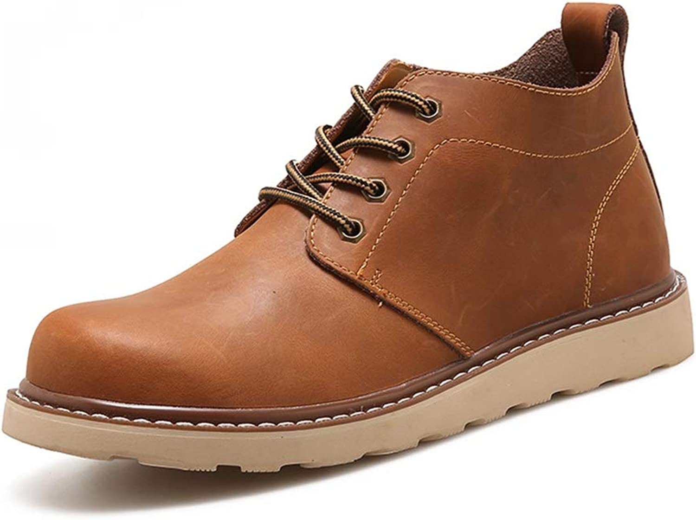 ZHRUI Mens Classic Ankle Boots Soft Sole Non Slip Waterproof Comfort Chukka Boots (color   Khaki, Size   UK 9)