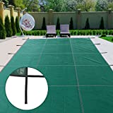 Ai CAR FUN In Ground Pool Cover Pool Safety Cover 18x36ft Rectangle Inground Safety Mesh Pool Winter Cover with 4x8ft Center End Steps for Swimming Pools Allows Rain or Melted Snow to Pass Through