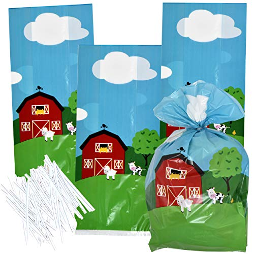 100 Farm Cellophane Bags Animal Barnyard Plastic Treat Favor Bag For Baby Shower & Birthday Party Supplies Decorations For Kids Classroom Reward, Carnival, Games, Candy Goody Grab Bag by Gift Boutique