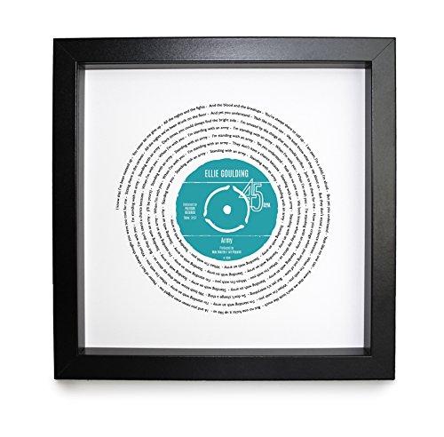 Ellie Goulding, Armee, Vinyl Record Print   personalisierbar Lied   Vinyl Record Lied Words Print   23x 23cm Box schwarz Rahmen