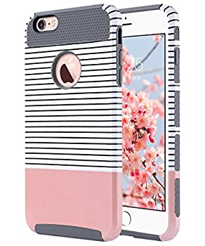 ULAK iPhone 6s Plus Case iPhone 6 Plus Case Slim Dual Layer Protection Scratch Resistant Hard Back Cover Shockproof TPU Bumper Case for Apple iPhone 6/6S Plus 5.5 inch-Minimal Rose Gold Grey