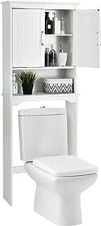 COSTWAY Meuble WC Armoire Dessus de Toilette/Machine à Laver avec 3 Étagères pour Rangement Organisateur Salle de Bain Bla...
