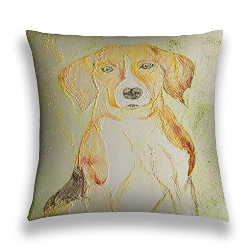 N\A Throw Pillow Cover Funda de Almohada Retrato de Beagle Fondo metálico Retrato de Beagle Fondo metálico Técnica de frotado Cerca de los Bordes Da al sofá Funda de cojín Decorativa para el hogar