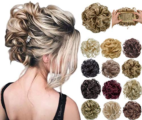 Felendy Messy Bun Hair Piece Thick Clip in Extensions Wavy Curly Donut Chignons Hair Updo Ponytail with Drawstring Ash Blonde