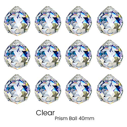 KARSLORA Glass Crystal Ball Prism Rainbow Suncatcher Feng Shui Lamp Hanging Drop Chandelier Pendants Window Suncatchers, 12 Pack, Clear (40mm)