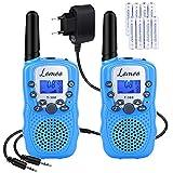 Lomoo Walkie Talkie, Walky Talky con 8 Piezas Batería Recargable y Cargador, Función VOX 8 Canales 0,5 W Pantalla LCD y Linterna Incorporado (Azul