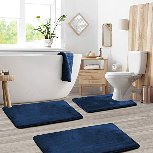 Clara Clark Bath Mat Set – Memory Foam Bath Mat - Soft Bathroom Rug - Non Slip and Super Absorbent - Fast Drying Machine Washable Bath Mat Set of 3 - Large, Small, and Contour Sizes - Navy Blue