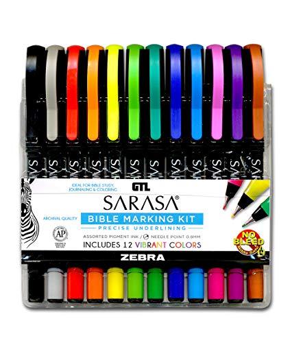 Zebra Sarasa Fineliner Bible Marking Kit (Set of 12) - Multi-Color