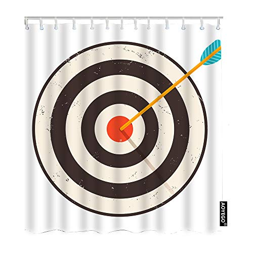 AOYEGO Arrow Bathroom Curtains Vintage Sport Game Arrows Target Bullseye with Striped Circles Shower Curtains 72x84 Inch Home Long Polyester Fabric Shower Curtain with Hooks