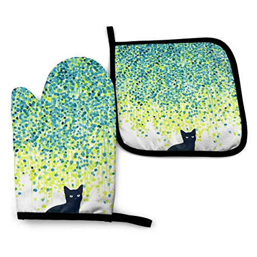 Ameiu-Design Oven Mitts and Pot Holders,Cat in The Garden Advanced Heat Resistant Oven Mitts,Non-Slip Textured Grip Potholders for Cooking Grilling Baking