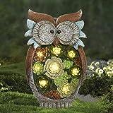 La Jolíe Muse Statua Animale Decorazione Giardino, Gufo a Luce Solare in Resina a energia...