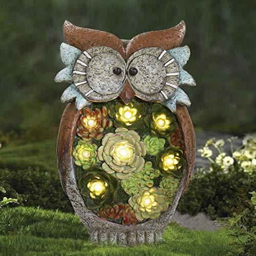 La Jolíe Muse Gartendeko Eule Solar Leuchte, aus Kunstharz Wetterfest, Weihnachten Geschenk Eule, Gartenfigur Ornament für draußen Hof & Balkon H27 x W16cm