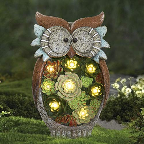 Garden Statue Owl Figurine - Resin Statue with Solar LED Lights for Patio Yard Art Decor Lawn Ornaments Outdoor Decorations, 10.5 x 6 Inch