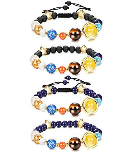 JOERICA 4 Pcs Solar System Bead Bracelet for Women Men Universe Galaxy the Nine Planets Natural Lava Rock Beads Bracelet