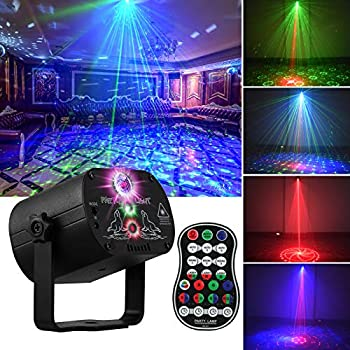 DJ Disco Stage Party Lights LED Sound Activated Laser Light RGB Flash Strobe Projector with Remote Control for Christmas Halloween Decorations Karaoke Pub KTV Bar Dance Gift Birthday Wedding