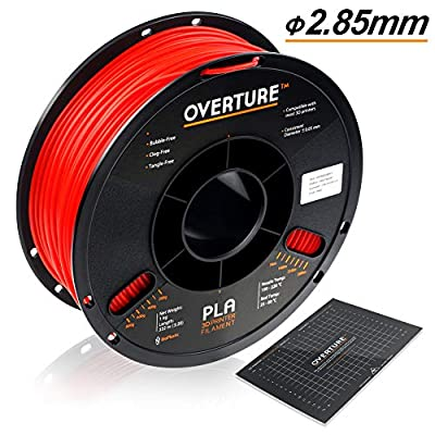 OVERTURE 2.85mm PLA Filament with 3D Build Surface 200mm × 200mm 3D Printer Consumables, 1kg Spool (2.2lbs), Dimensional Accuracy +/- 0.05 mm, Fit Most FDM Printer (Red)