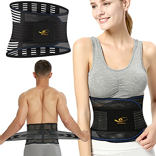 HiRui Apoyo de espalda para aliviar el dolor de espalda baja, soporte lumbar para hombres mujeres columna vertebral soporte para hernia disco, ciática, escoliosis-lumbar con correas ajustables/malla transpirable/huesos de acero (XL)
