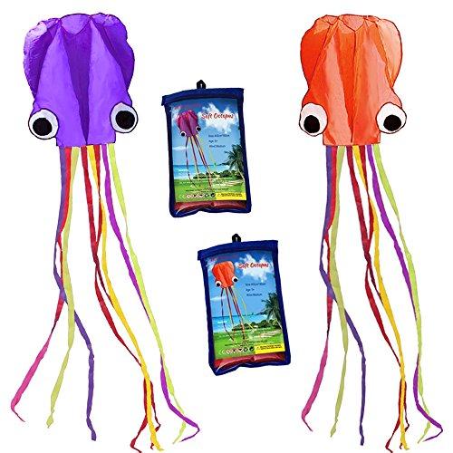 Kit de pipa Hengda com 2 cores, kit grande e autista, fácil de transportar para crianças - software octopus- é grande! 78,7 cm de largura com cauda longa de 157 polegadas de comprimento - perfeito para praia ou parque por, 2 Colors(Orange&Purple)