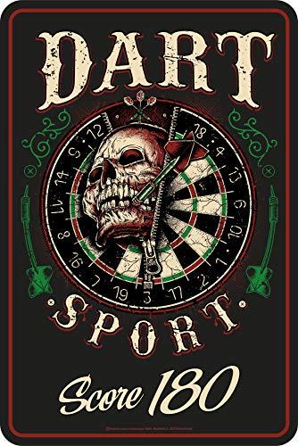 Lobo Negro Deko Blechschild als Geschenk für Dart-Spieler - Score 180 Skull 30x20 cm