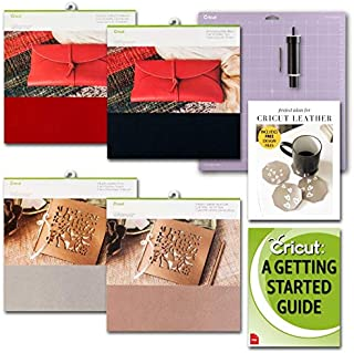 Cricut Genuine Red, Black, Silver and Gold Leather Sheets with Blade and Strong GripMat Bundle